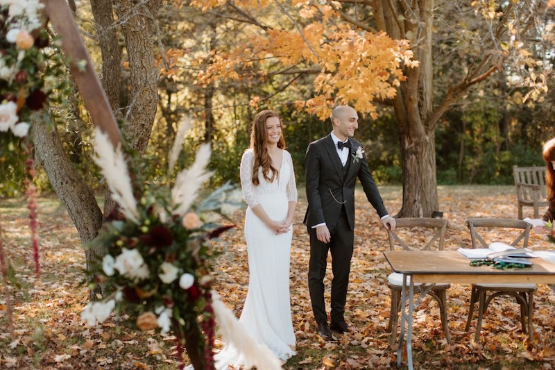 Bride and groom celebrate their wedding at the Outdoor Ceremony Site