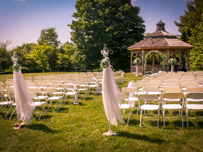 outdoor wedding ceremony set up on the Arboretum Centre lawn