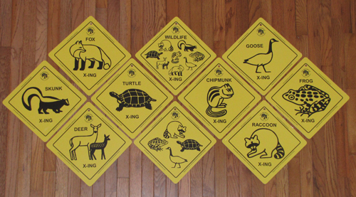 Various animal roadsigns