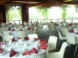 The OAC Centennial Arboretum Centre  Auditorium set up for a banquet