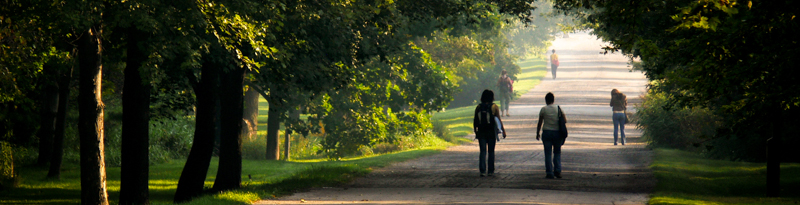 people walking on Arboretum Road