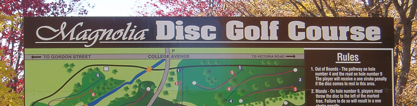 photo of Magnolia Disc Golf sign
