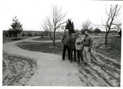 Keith Ronald (past Arboretum Director), Philip Gosling, Jean Gosling and Alan Watson (then the Arboretum Biologist and now past Arboretum Director) on the site in early spring, 1987
